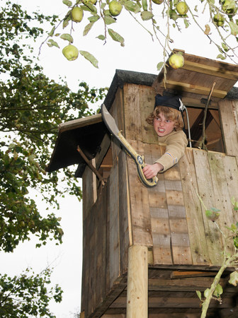 Boy playing in treehouse Banque d'images - 114075524