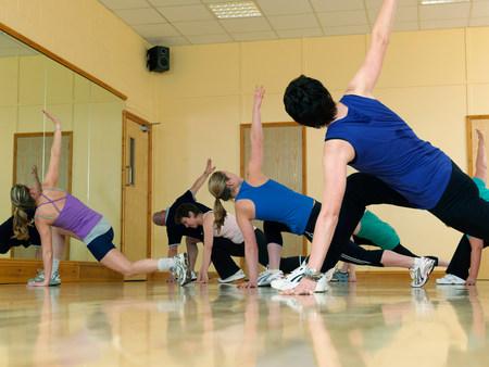 aerobic exercise at gym Stock Photo
