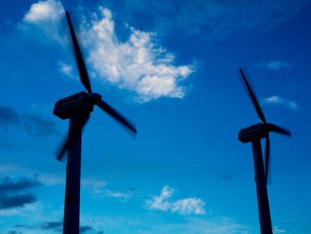 Wind turbines in silhouette Reklamní fotografie