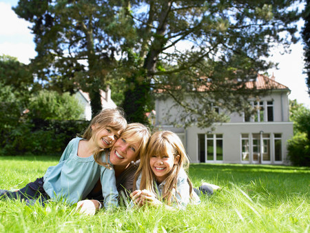 Mother and daughters in the garden