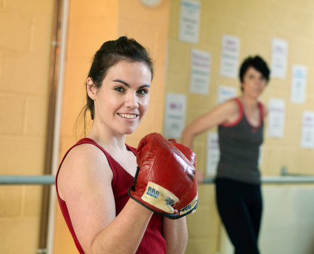 woman boxing exercise at gym