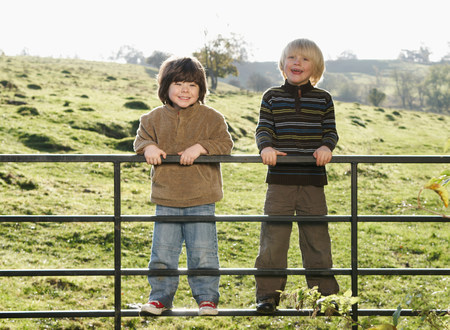 Two young boys on gate in countryside 版權商用圖片