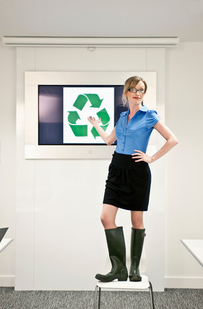 woman presenting green concepts Stock Photo