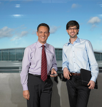 Two Businessmen smiling Stock Photo