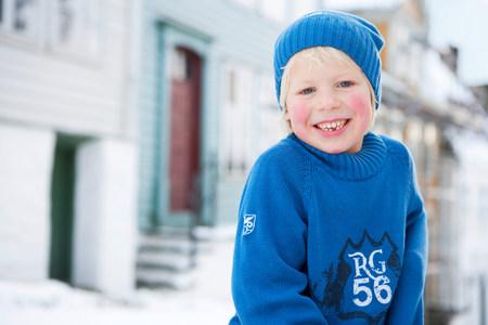 Scandinavian boy smiling Stock Photo