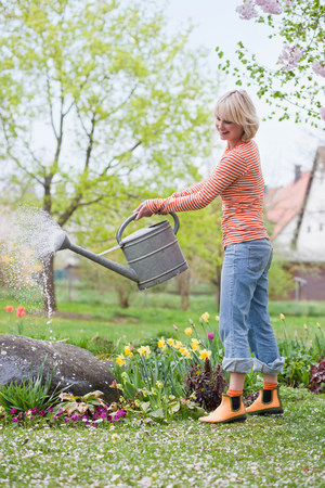 woman watering garden flowers Stock Photo