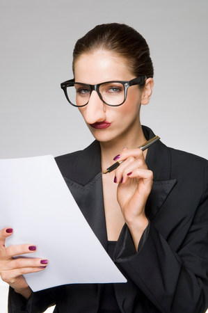 Female as business woman with fake nose