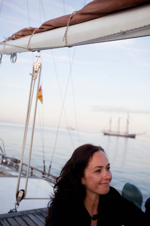 woman on a boat smiling