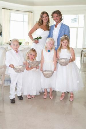 bride and groom with wedding children