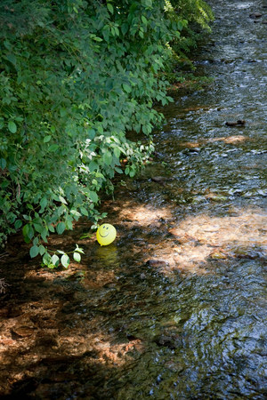 balloon in a river