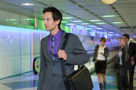 business man at airport, walking
