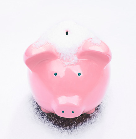 Piggy Bank in Snow 스톡 콘텐츠