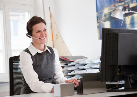 Businesswoman in front of computer