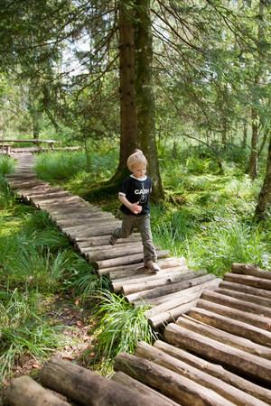 Boy running on a footbridge