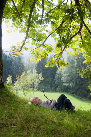 Boy playing with a limb under a tree Stock Photo