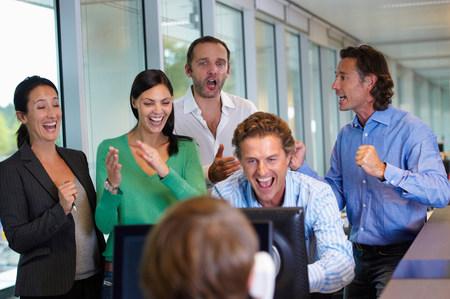 Business team closing a deal