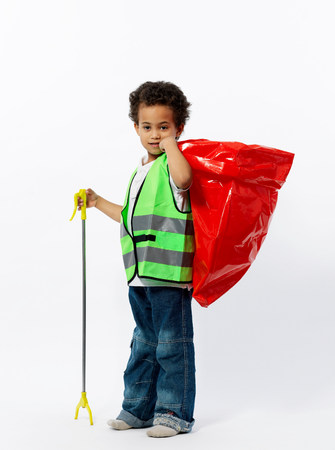 Boy with cleaning gear