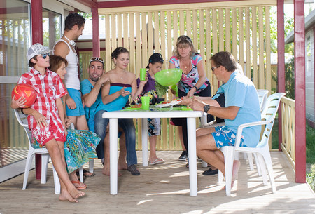 Family vacation picnic on terrace