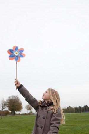 Girl holding wind wheel