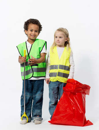 Kids with cleaning gear