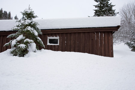 Wooden shed covered in snow