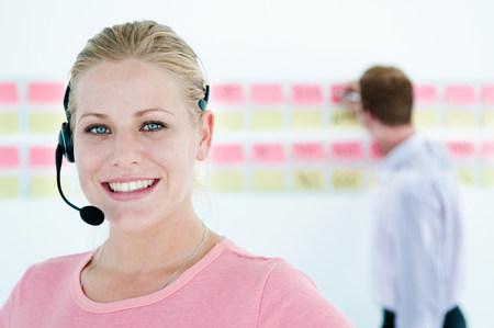 Happy tele worker Stock Photo