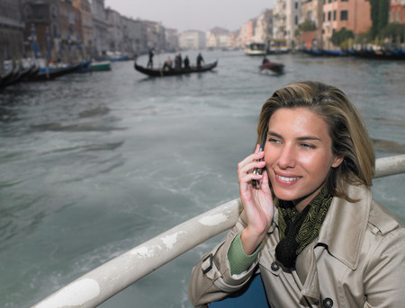Woman on the phone, on boat