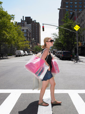 Woman shopping in New-York City Stok Fotoğraf