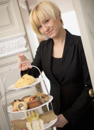 Woman serving