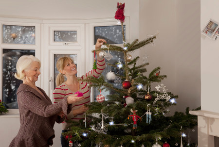 A mother and daughter decorating a tree