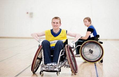 Para rugby players in wheelchairs