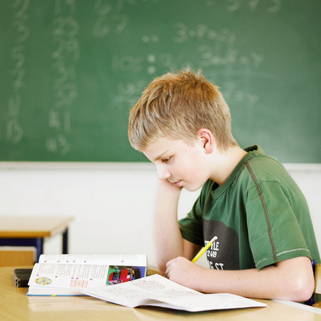 Boy studying at desk in classroom