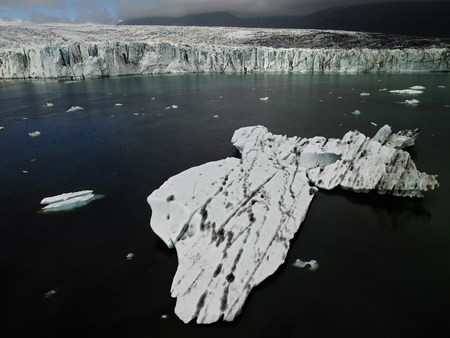 Ice floating on glacial river