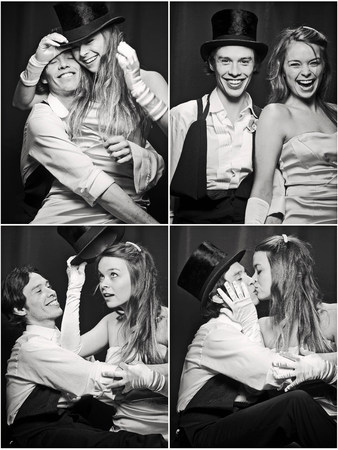 Photo booth picture of newlywed couple Stock fotó