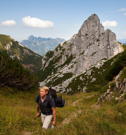 Man hiking on mountain path