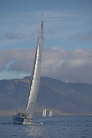 Sailboat tipping in wind Stok Fotoğraf