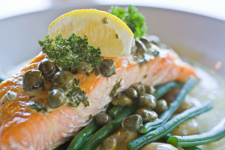 Close up of salmon with capers and lemon Stock fotó