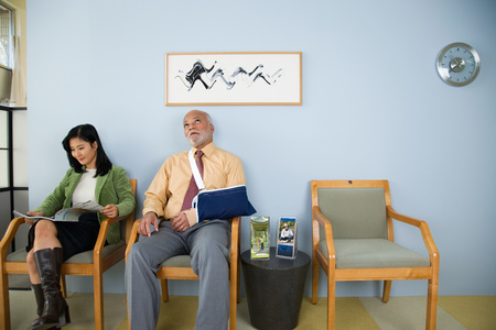 Patients waiting in a doctors office