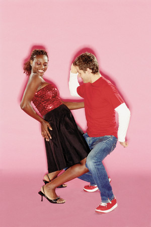 Funky couple dancing Foto de archivo