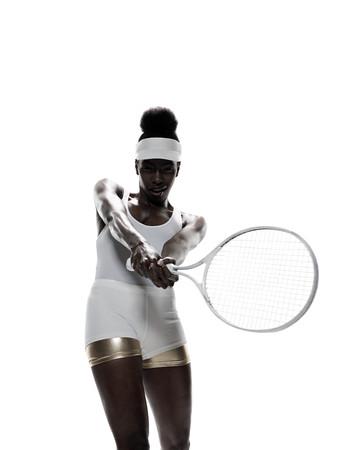 A female tennis player Imagens