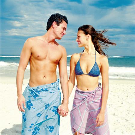 Romantic man and woman on beach