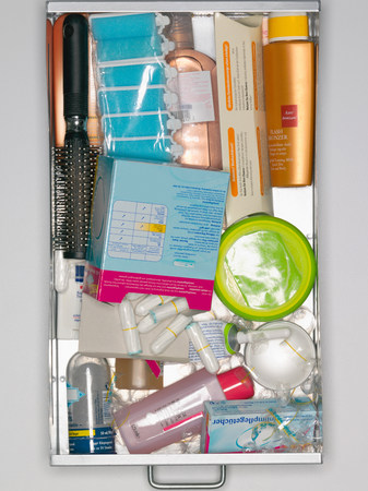 Elevated view of cosmetics in a drawer