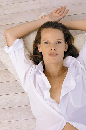 Girl resting on floor