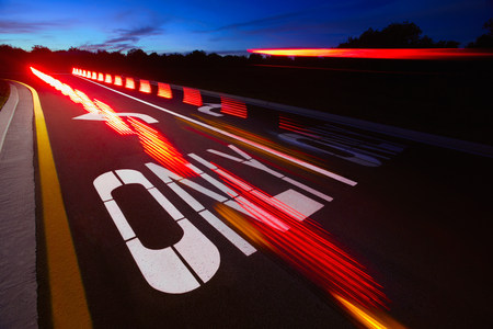 Blurred taillights on a highway Stock Photo