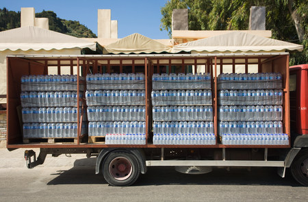 Bottles of water on a truck