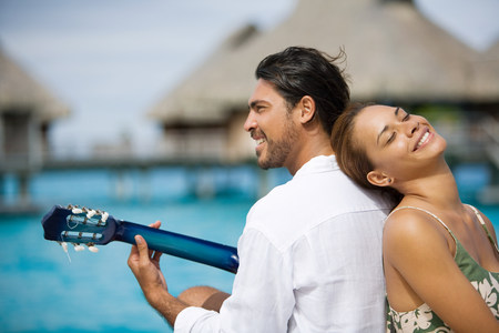Romantic couple with guitar