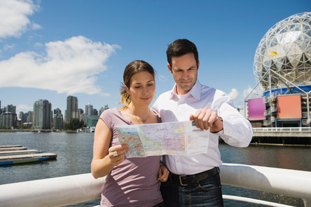 Sightseeing couple in vancouver Stock Photo