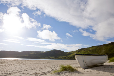 A rowboat on a beach on the isle of mull