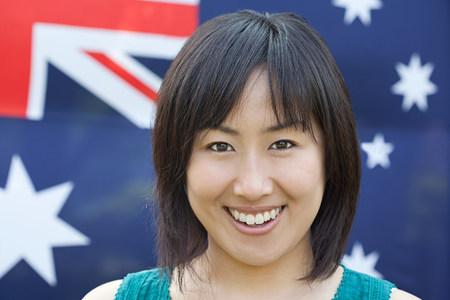 Woman and australian flag Reklamní fotografie