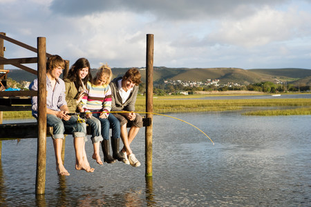 Friends on a jetty